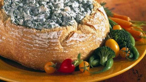 Hidden valley spinich dip. Super simple and equally delicious. I like to add a little more ranch dip mix and sometimes, I will add canned artichoke hearts (drained and chopped of course). Always serve with hawaiin bread!
