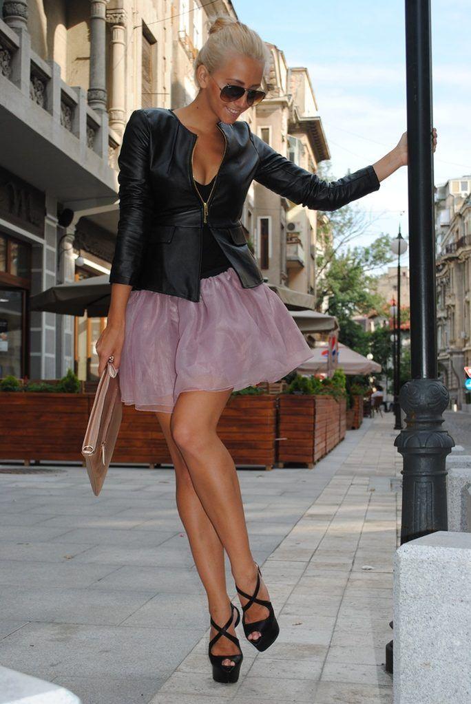Urban Ballerina  Leather Jackets Chiffon Tulle Skirts