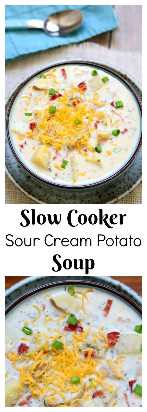 Slow Cooker Sour Cream Potato Bacon Soup–this crockpot soup has a creamy broth, juicy corn kernels, crispy bacon, grated cheddar, tangy cream cheese and sour cream and mild green onions. It is comfort in a bowl and is an easy dinner recipe that takes just minutes to put together.