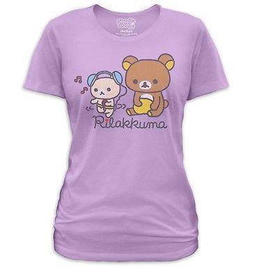 Rilakkuma Japanese Relaxed Teddy Bears Music Time Ladies Women Jr T-shirt top