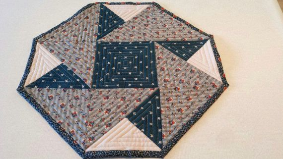 Quilted Mini Table Topper Or Wall Hanging Octagon Shaped