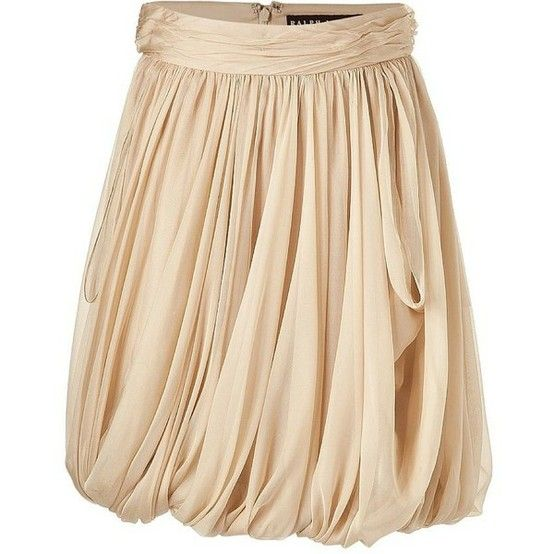 Ralph Lauren Clairy Tan Silk Balloon Skirt
