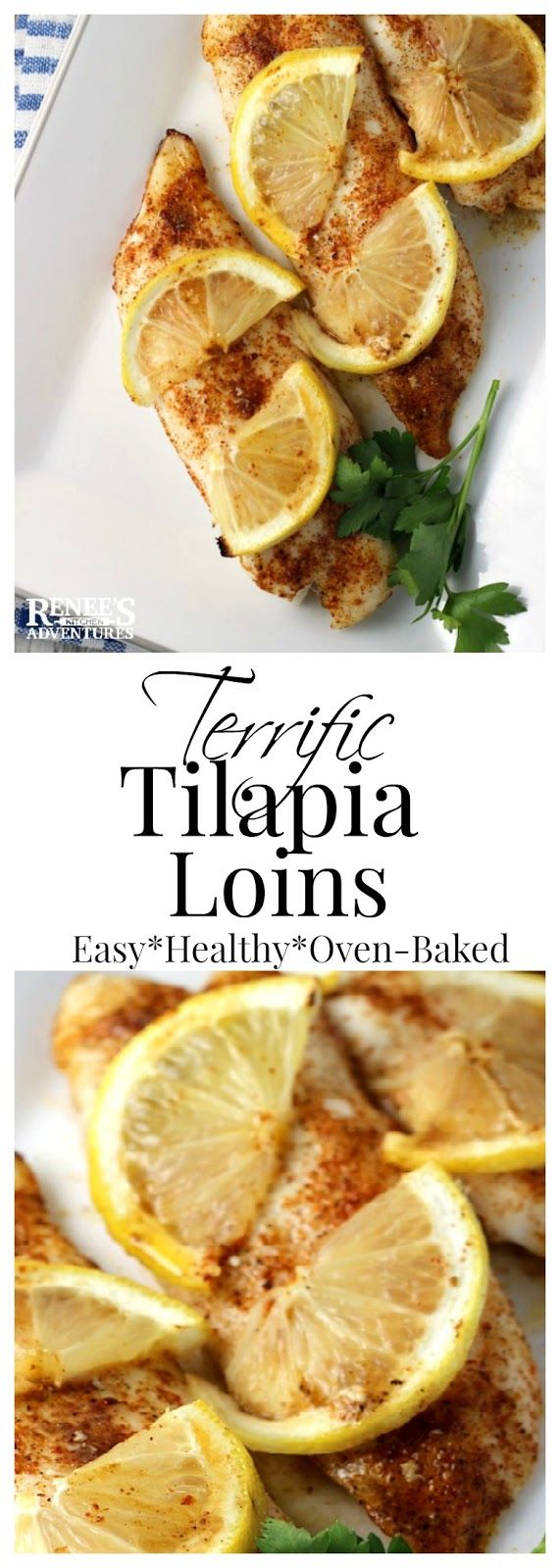 Terrific Tilapia Loins | Renee's Kitchen Adventures - easy baked recipe for tilapia fish with lemon butter and creole seasonings that's cooked from frozen. Dinner ready in about 30 minutes!