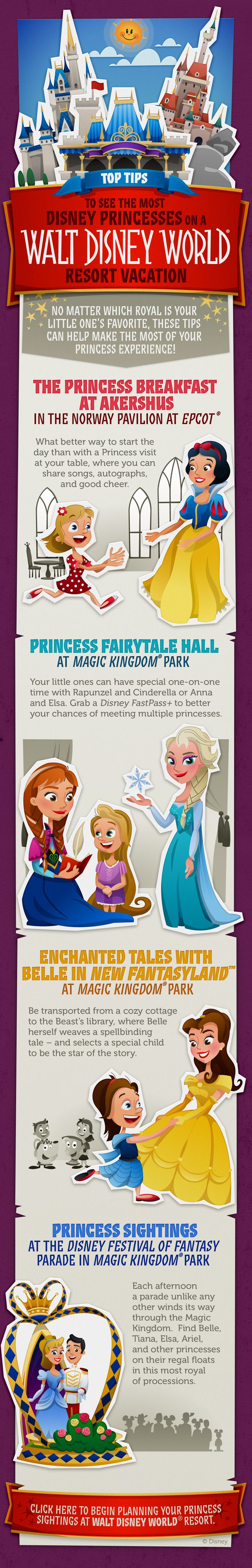 Top Tips to see the most Disney Princesses on a Walt Disney World Resort Vacation! See your favorite characters from Snow White, Frozen, Beauty and the Beast, Cinderella and The Little Mermaid! #DisneyKids