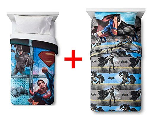 Batman vs Superman Bedding Set Twin Size 4 Piece Sheet Sheets Comforter Pillowcases Bedroom Dawn of Justice Home Decor -- You can find out more details at the link of the image.