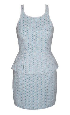 Penny White & Blue Peplum Dress $69.95  www.littlepartydress.com.au