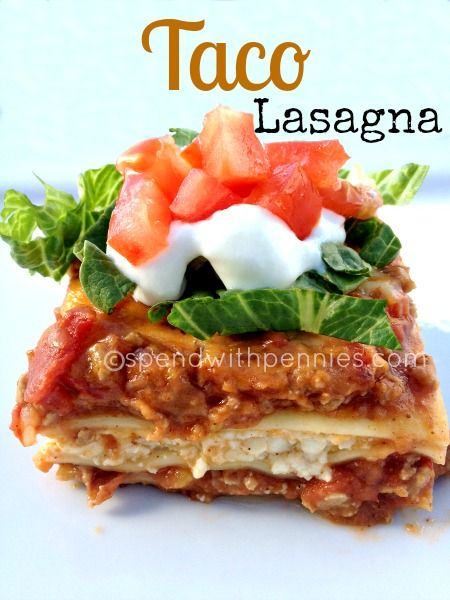 Taco Lasagna Love it? Pin it! (Just click the photo) Follow Spend With Pennies on Pinterest for more great recipes! This is an awesome recipe for Taco Lasagna! You can use either ground beef or turkey (I used turkey in mine for a lightened up version...