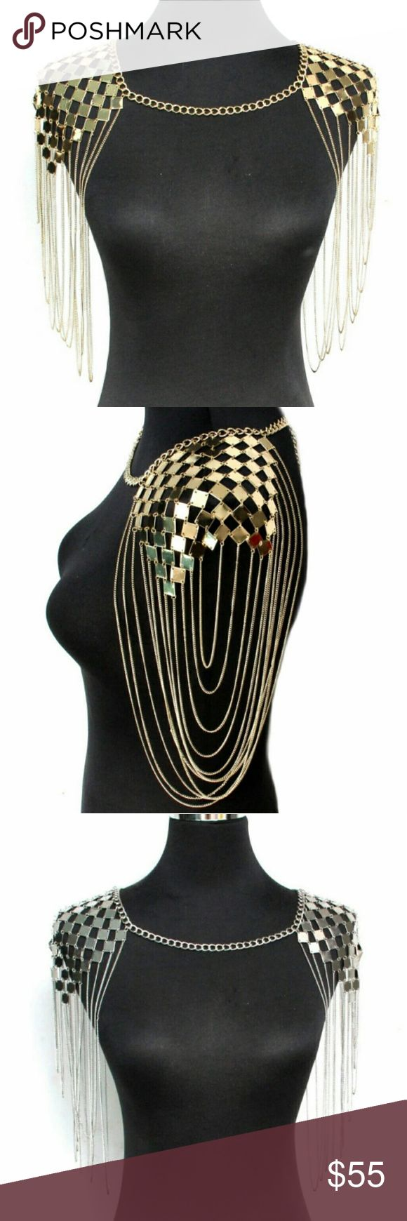 Bikini, Body Chain, Epaulet, Shoulder Chain Fashionable match for Bikini and dress. Hot choice for a summer beach party, Coachella, festival, bohemian, punk, burning man, rave costume or prom and any other occasion. This Harness Body Chain put a glamorous finishing touch on whatever you're wearing to have you sparkling and shining the day or night away! Sure to add it to any dress, swimsuit or separates ensemble. Expressed the true sexy side in your soul and bring a sparkle to your every…