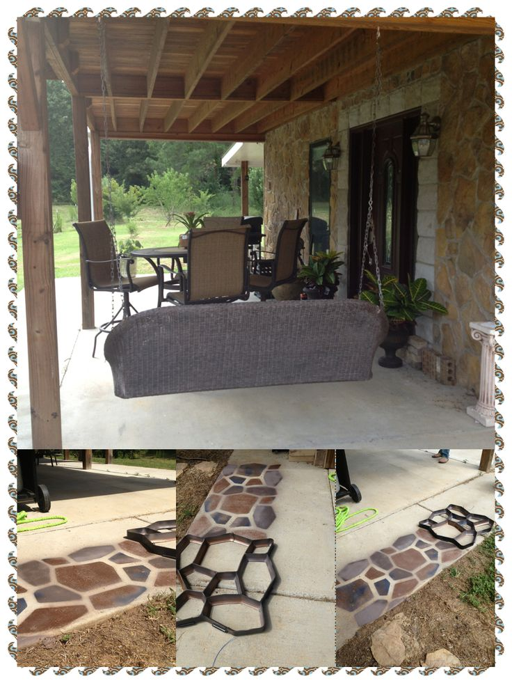 No Mess Stone Patio Floor Use A Concrete Mold And Spray