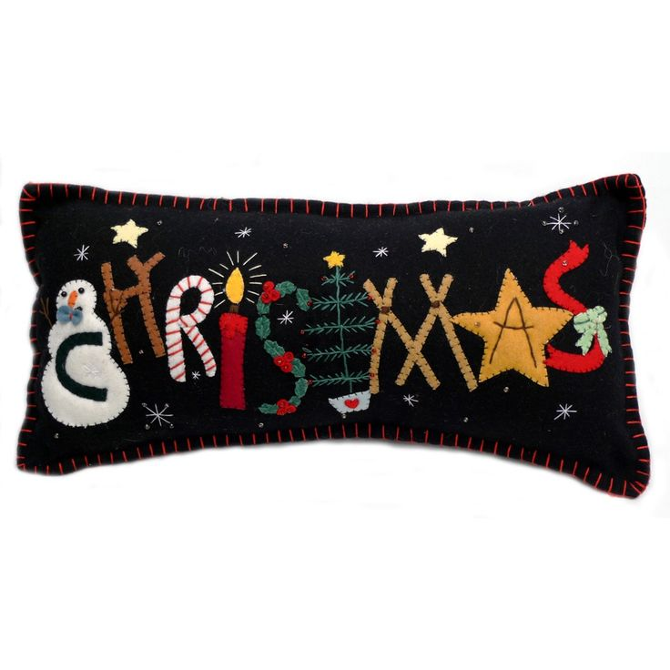 """Christmas"" Pillow - Wool Felt Applique"