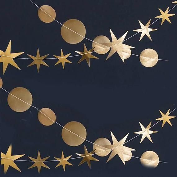Gold Star Garland | New Years Eve Decorations - Gold ...