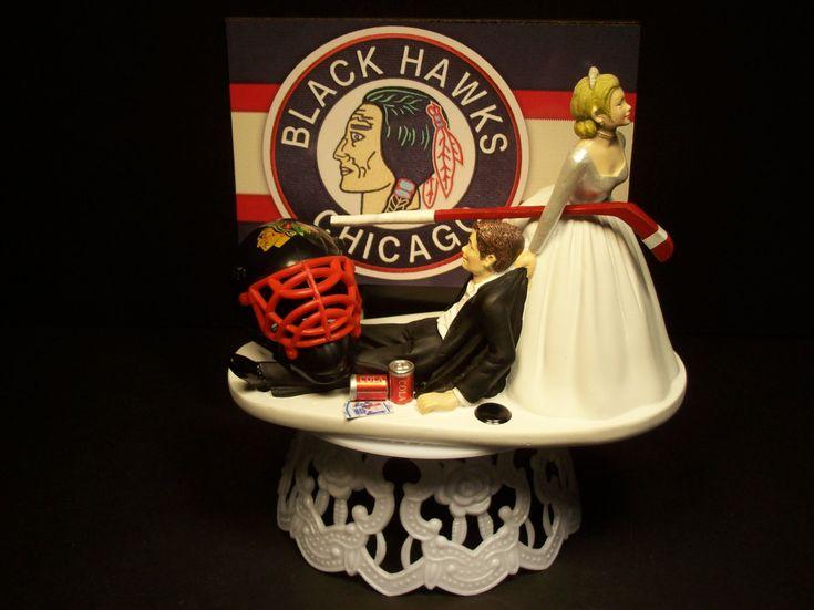 Hockey Sports Team CHICAGO BLACK HAWKS Blackhawks Bride and Groom Wedding Cake Topper Funny Groom's Cake