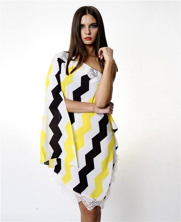 Therzi Sarı Beyaz Asimetrik Elbise