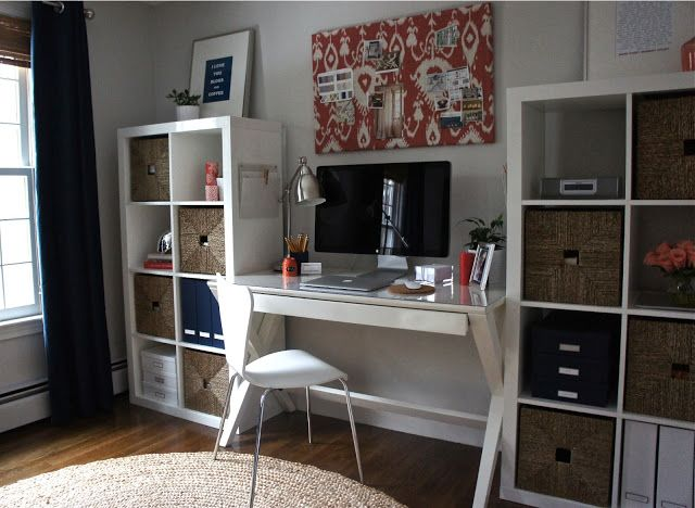 love this office makeover layout crate and barrel spotlight white 48 desk pottery barn round jute rug ikea expedits with woven basket