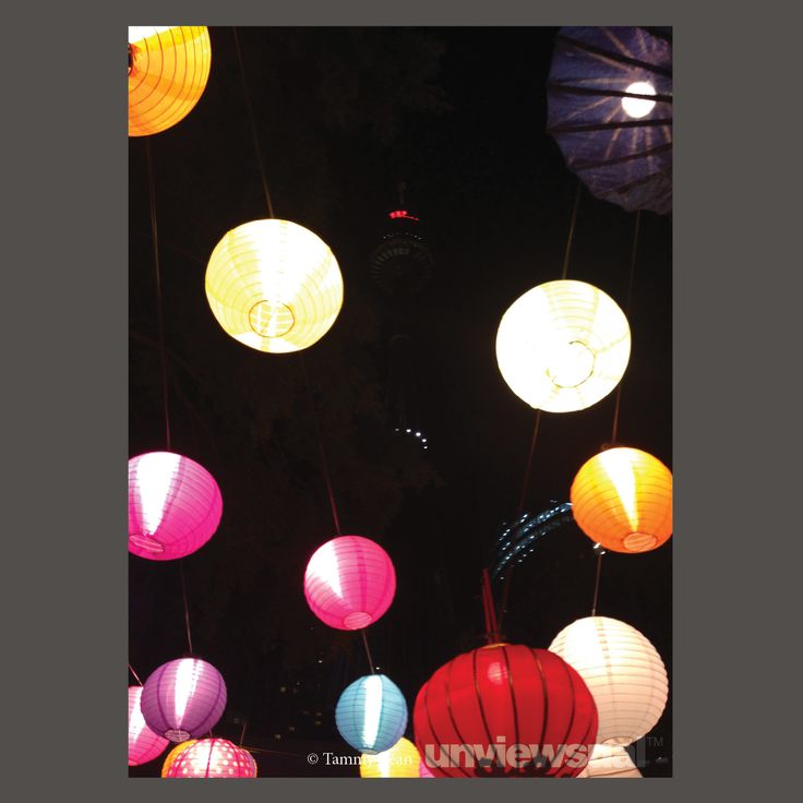 I'd just queued in a long line at the Night Noodle Markets when I saw the lanterns. They seem to be floating or tied to an unknown point in the sky. I like how the lights of Sydney Tower are just peeking through. 9pm, 16 October 2013, from Hyde Park ©Tammy Been