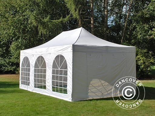 POP UP GAZEBO FLEXTENTS PRO VINTAGE STYLE 4X6 M WHITE, INCL. 8 SIDEWALLS  Pop up gazebo FleXtents PRO is a high professional quality pop up gazebo with easy set up in just 60 seconds. Complete set incl. 8 sidewalls, pegs and a practical carry bag with wheels. A flexible, functional and durable pop up gazebo.