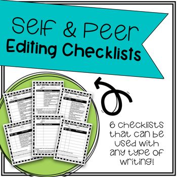 """Students check their own writing using a self-editing checklist. If they can answer """"yes"""" to everything, then they can meet with a partner. Their partner will use a """"peer editing checklists"""" to check their partner's paper. There is also a place for their partner to compliment and give suggestions to the author."""