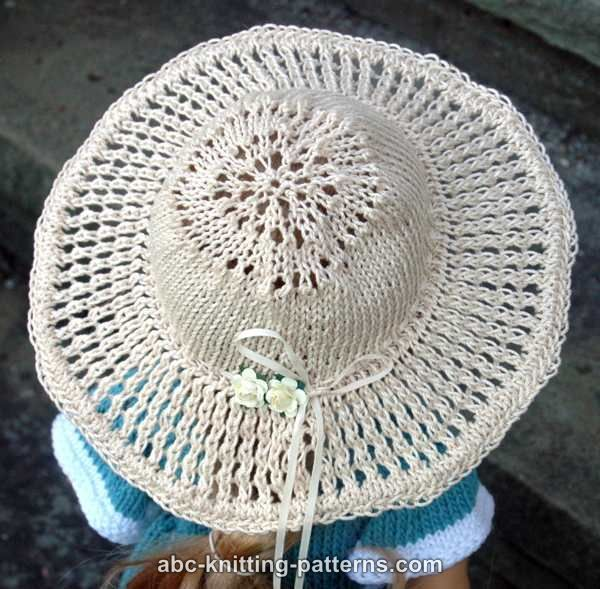 ABC Knitting Patterns - American Girl Doll Summer Breeze Hat (Knit Version) ...