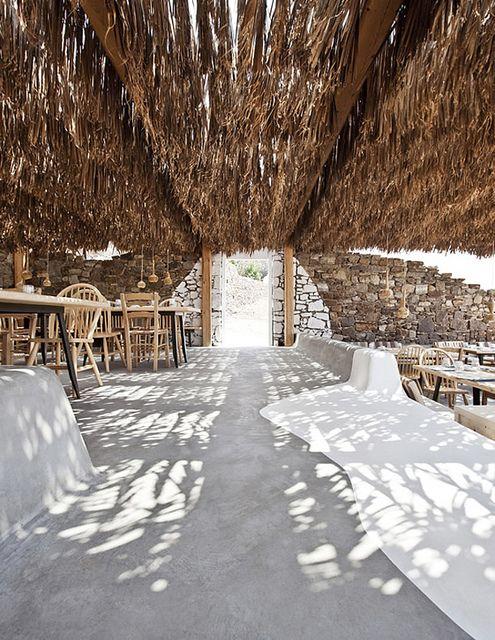 Beach bar Alemagou on Mykonos, Greece by the style files, via Flickr