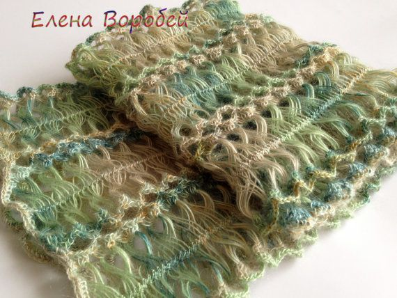 Hairpin Loom Scarf / Beautiful scarf/ Crochet Lime by ElenaVorobey