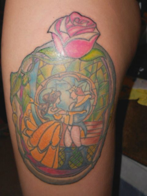 Stained glass window scene, beauty and the beast tattoo ...