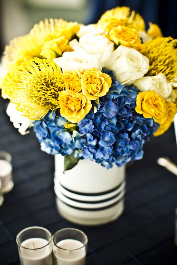 Beautiful Blooms - Cobalt Blue, Yellow, and White Centerpiece