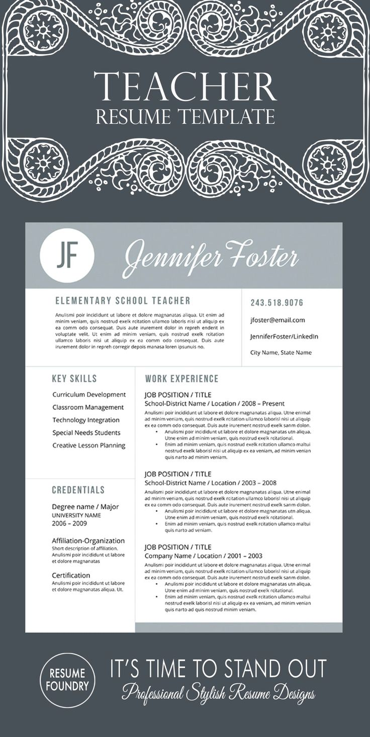 Unique teacher resume template - professionally designed for teacher applications