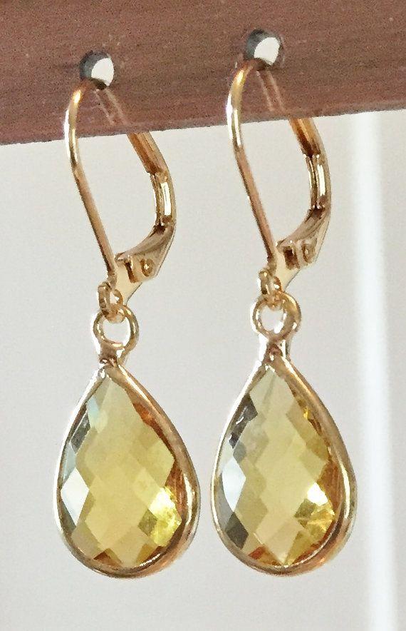 Kate Middleton Citrine Teardrop Earrings Gold $17