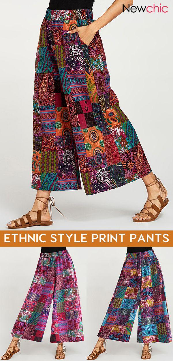 【57% off】Ethnic Style Print Elastic Waist Plus Size Pants. #pants #womenpant…