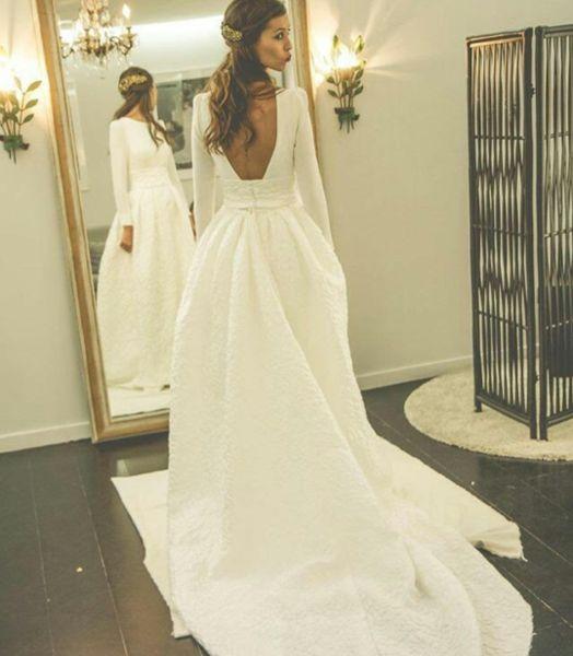 Long Sleeves Open Back Simple Free Custom Handmade Wedding Dress, Elegant Prom Dress, WD0250