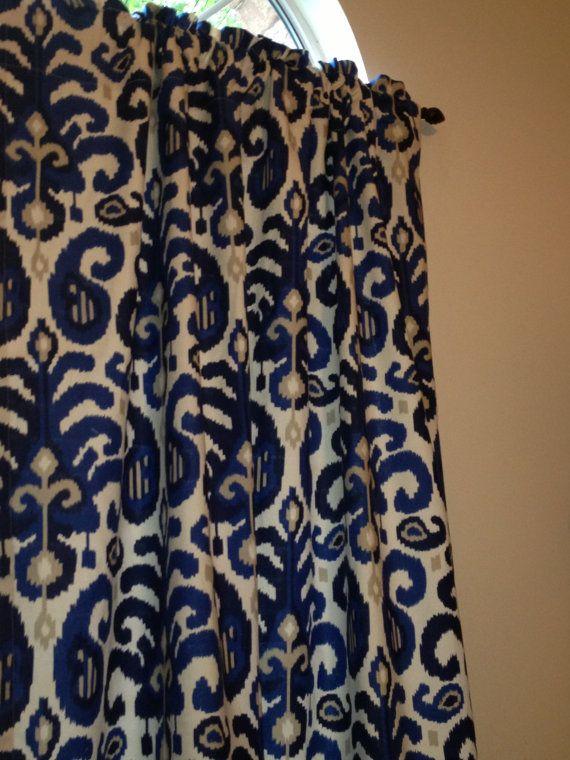 2 beautiful curtain panels suburban rasul ikat blue 50w x 96l royal navy and tan