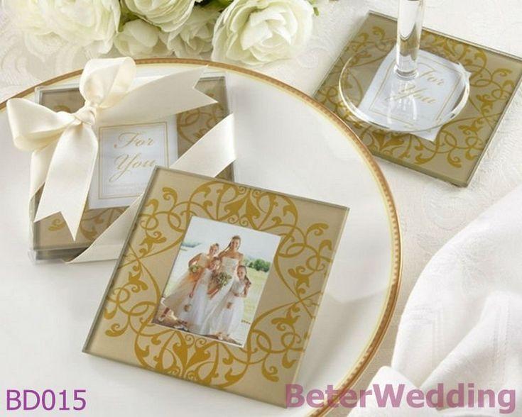 Aliexpress Buy BeterWedding Favours Wholesale 8pcs 4set Golden Brocade Elegant Glass Photo Wedding