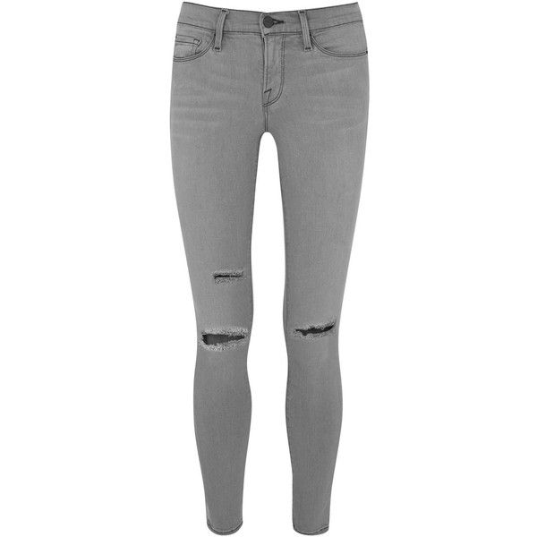 Womens Skinny Jeans Frame Denim Warren Grey Distressed Skinny Jeans ($365) ❤ liked on Polyvore