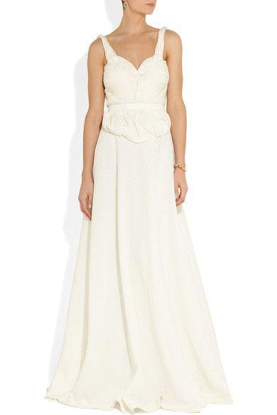 Sophia Kokosalaki - Harmonia Matelassé Silk-blend Gown - Off-white - IT40