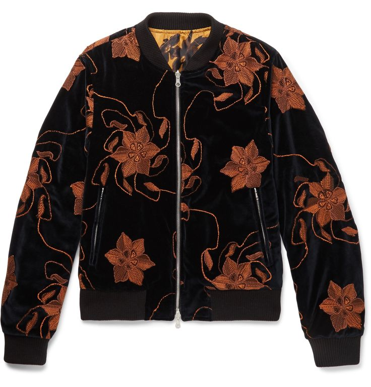 <a href='http://www.mrporter.com/mens/Designers/Dries_Van_Noten'>Dries Van Noten</a>'s bomber is a clever investment - its reversible design means you get two jackets in one. The plush navy velvet side is intricately embroidered with bold florals, while the other comes in lightly quilted botanical-print satin. It's finished with sporty ribbed trims and plenty of practical pockets.