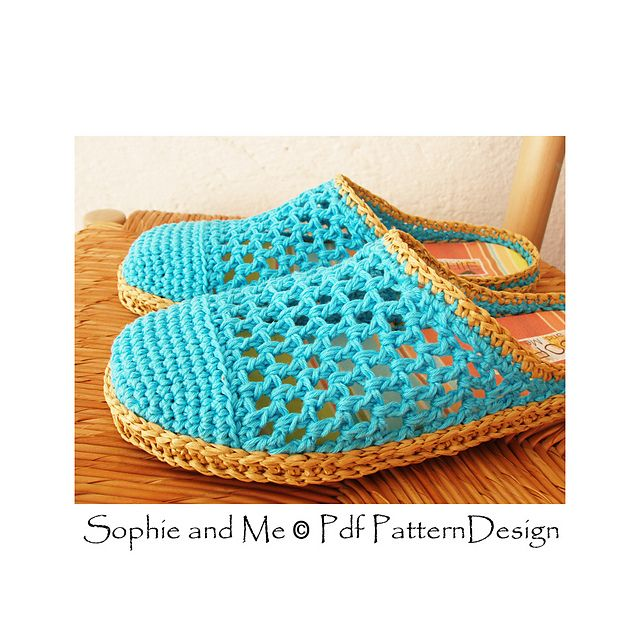 Basic crochet slippers attached tailored Crochet-Soles made of Raffia!