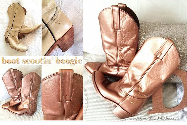 oh yes I DID spray paint my cowboy boots rose gold!!!