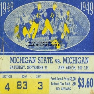 Michigan football gifts! 1949 Michigan State vs. Michigan football ticket coasters. Best football gifts in the nation!
