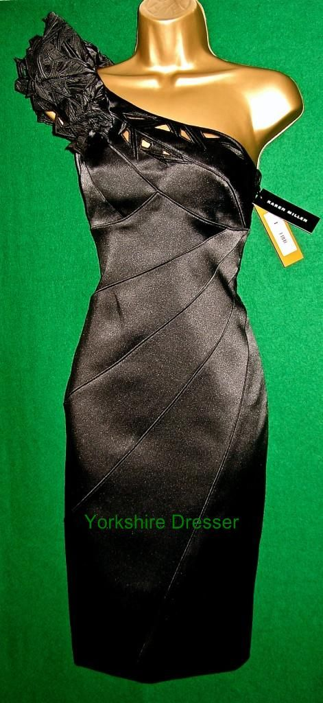 New KAREN MILLEN Black One Shoulder Stretch Satin Cocktail Pencil Dress - Uk 8 in Clothes, Shoes & Accessories, Women's Clothing, Dresses | eBay
