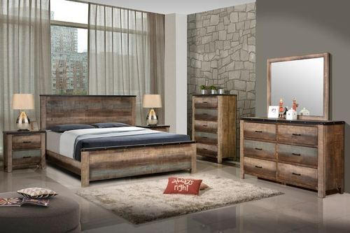 4 PC Sembene Multi Colored Solid Wood Bedroom Set (chest sold