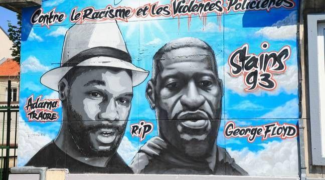 Seine Saint Denis La Fresque Hommage A George Floyd Et Adama Traore Vandalisee A Stains 20 Minutes En 2020 Racisme Saint Denis Street Art