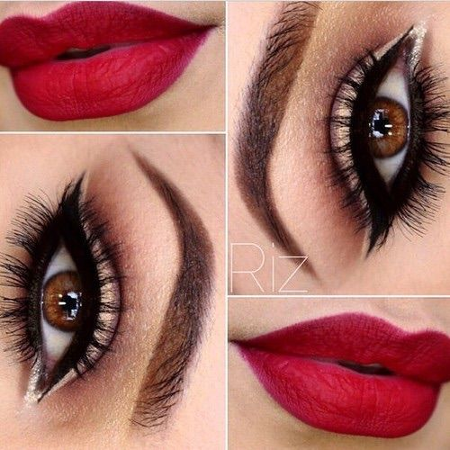 Red lips and lashes ツ Beautiful #eyes