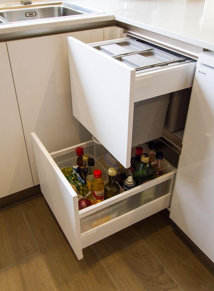 Oil drawer and storage. Small, modern kitchen. www.thekitchendesigncentre.com.au @thekitchen_designcentre