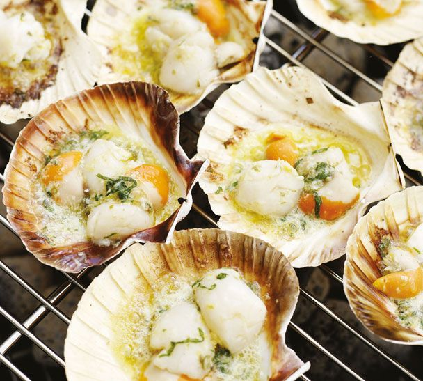 Roasted Scallops in the Half Shell with Lemon Caper Butter                                                 So simple and utterly delciious. Choose the freshest scallops and remove the tough little hinge on the side of each one before cooking.