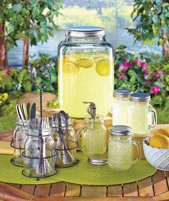 The Mason Jar Entertaining Collection gives your next casual event a bit of rustic charm. The Set of 4 Mugs (16 oz., each) includes silvertone lids that screw on the handled jars. In addition to being cute drinkware, they can also be used for food storag