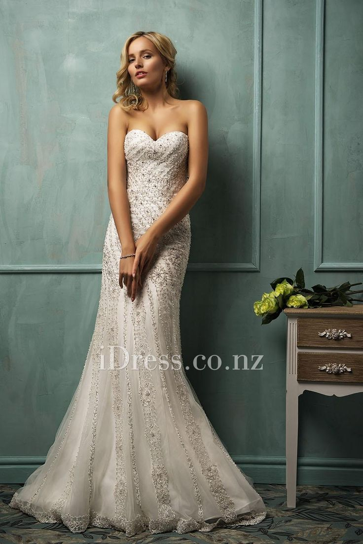 Sophisticated Beaded Embroidery Sweetheart Strapless Slim A-line Wedding Dress