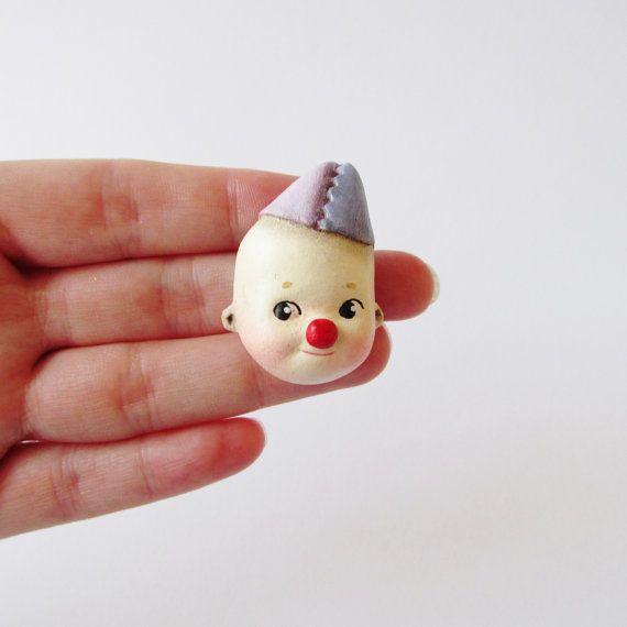 Cutie the Kewpie Clown  Paperclay Doll Face Pin by DottieDollie