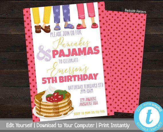 Pancakes and Pajamas, Printable Birthday Party Invitation, Slumber