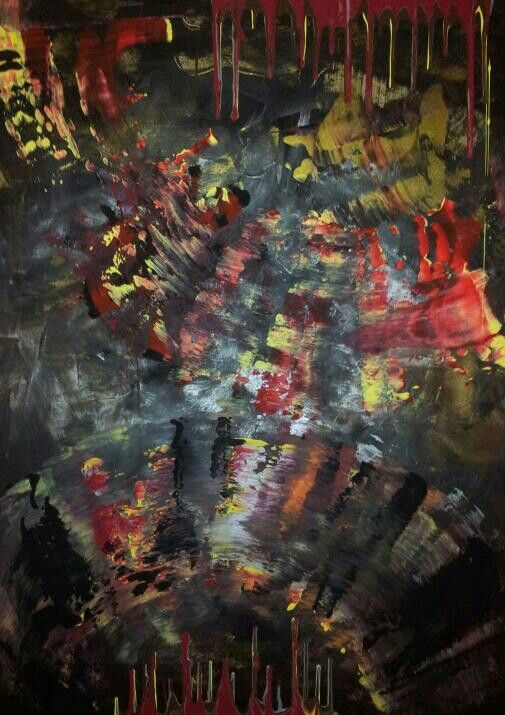 Abstract art by Canadian artist Robert Martin Abstracts. Title Freedom 40x30x1.5in. In acrylic on canvas