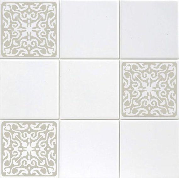 Ensemble de Six 4 » vinyle carrelage autocollants - de Style Baroque fleuri Accent cuisine - dosseret-Stickers salle de bain